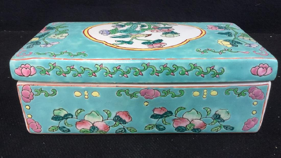 Asian Porcelain Ceramic Hand Painted Lidded Box - 4