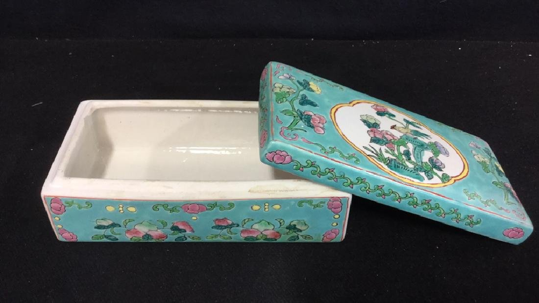 Asian Porcelain Ceramic Hand Painted Lidded Box - 5