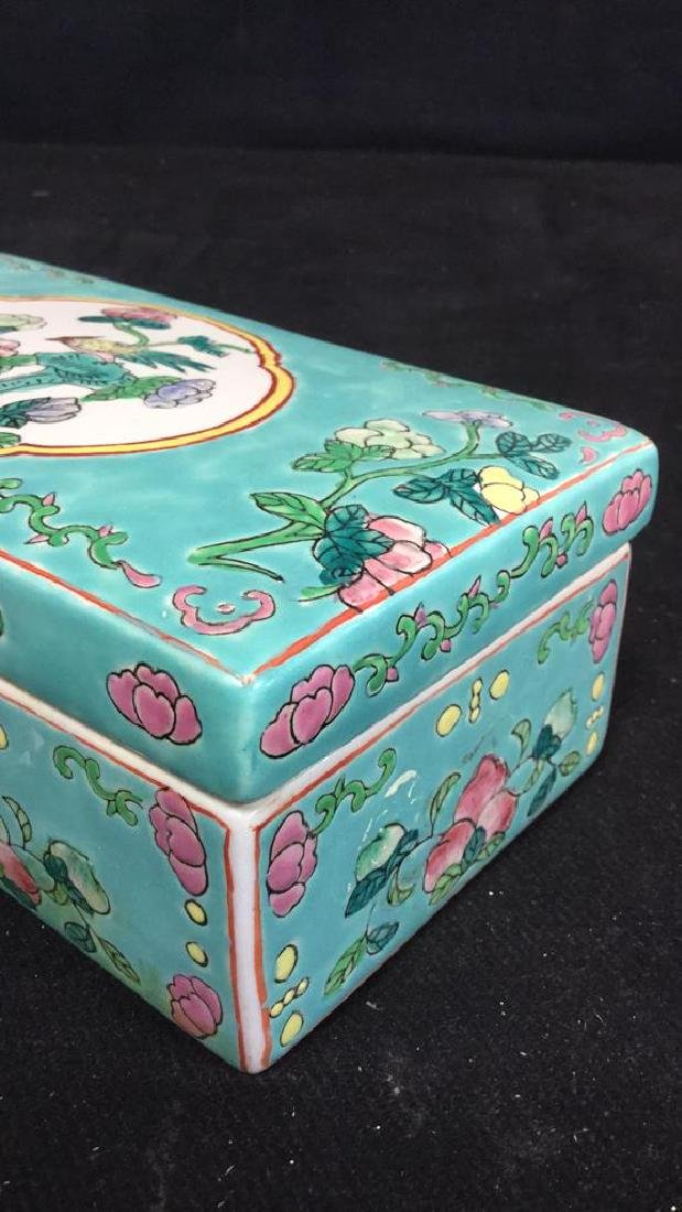 Asian Porcelain Ceramic Hand Painted Lidded Box - 8