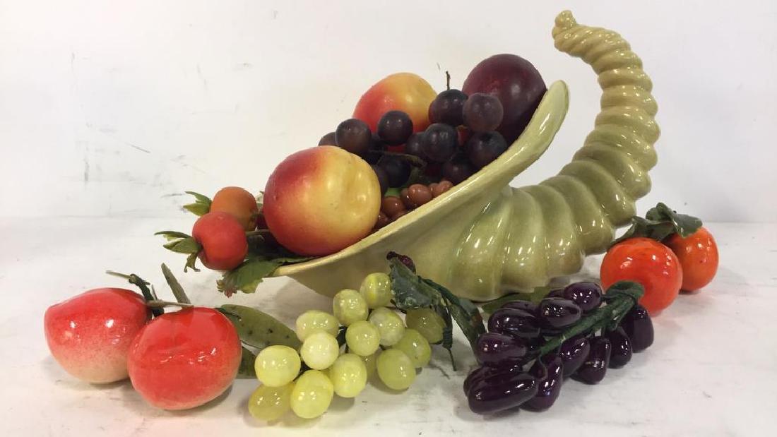 Ceramic Cornucopia & Assorted Faux Fruit
