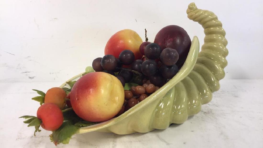 Ceramic Cornucopia & Assorted Faux Fruit - 2