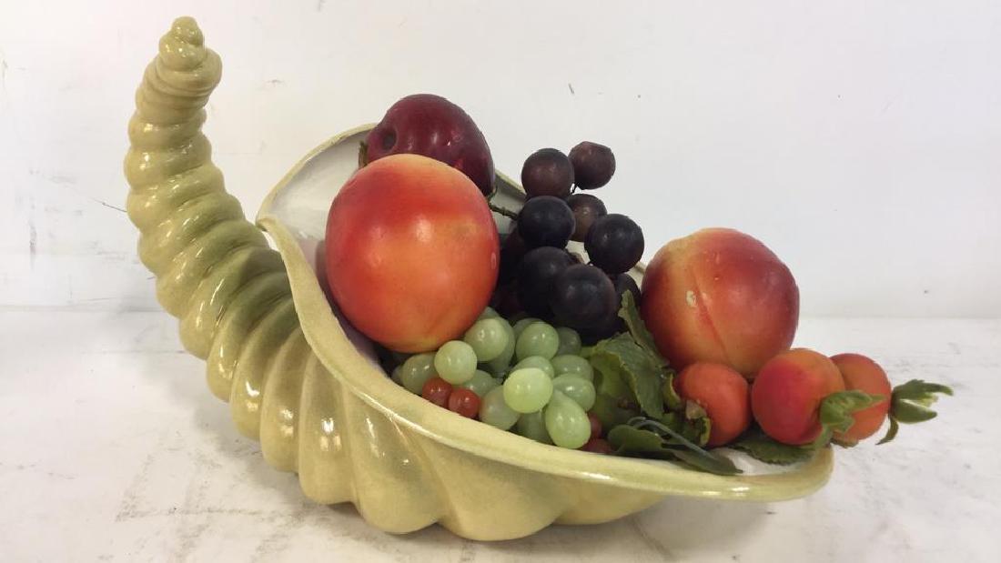 Ceramic Cornucopia & Assorted Faux Fruit - 3