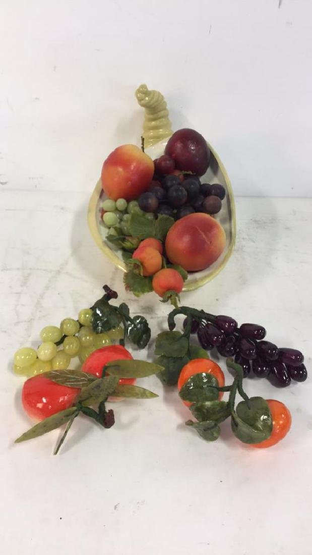 Ceramic Cornucopia & Assorted Faux Fruit - 5