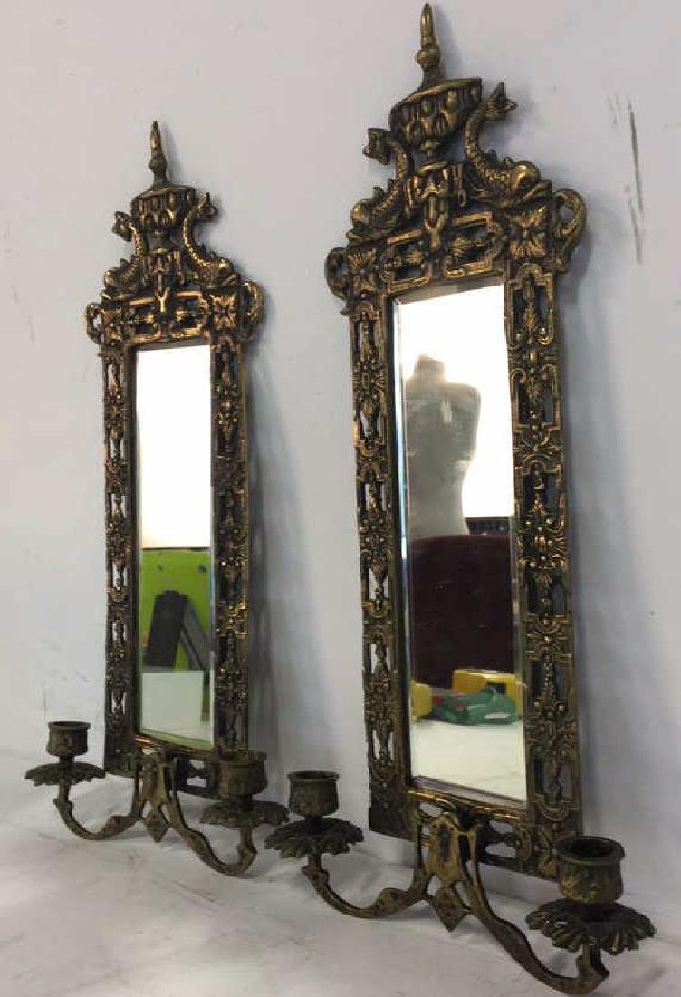 Pair Gold Toned Hanging Mirror Sconces