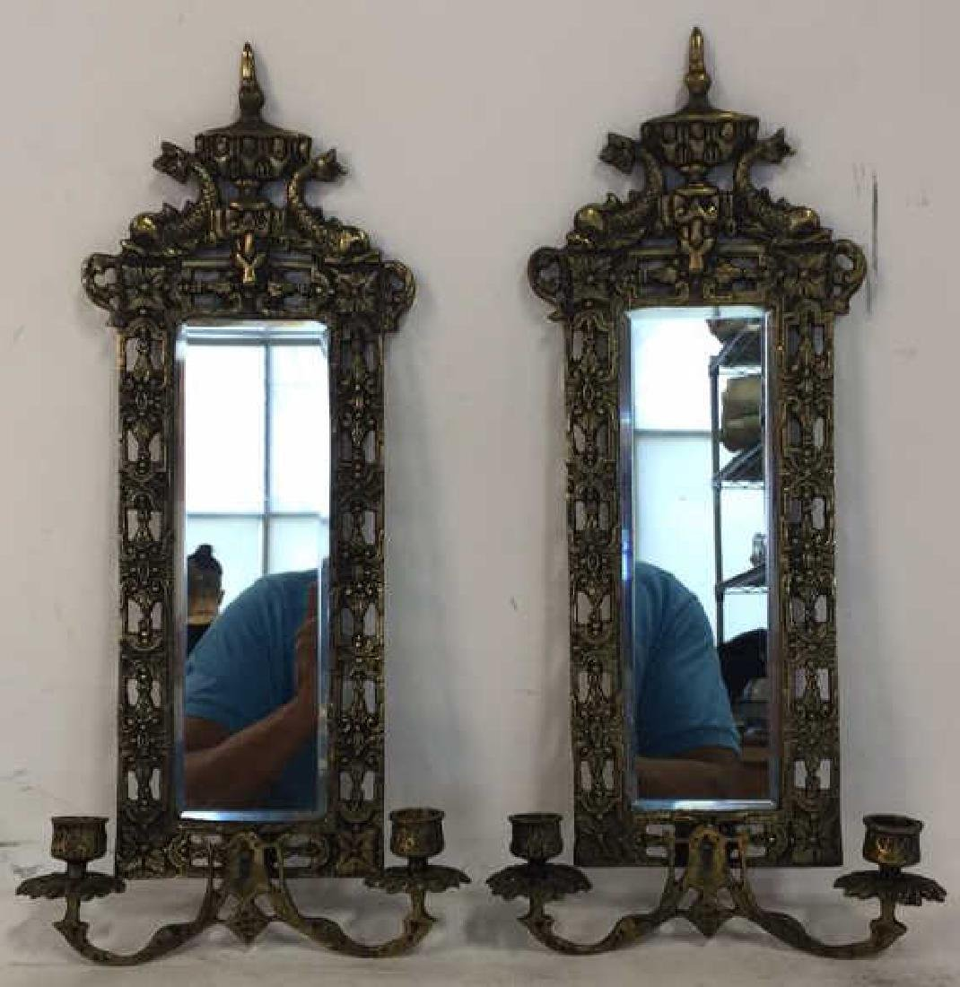 Pair Gold Toned Hanging Mirror Sconces - 2
