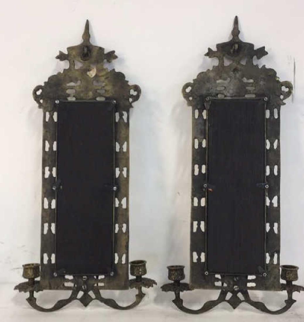 Pair Gold Toned Hanging Mirror Sconces - 7