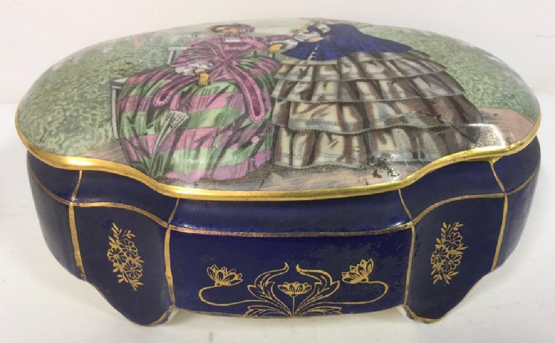 Vintage Porcelain Ceramic Painted Trinket Box