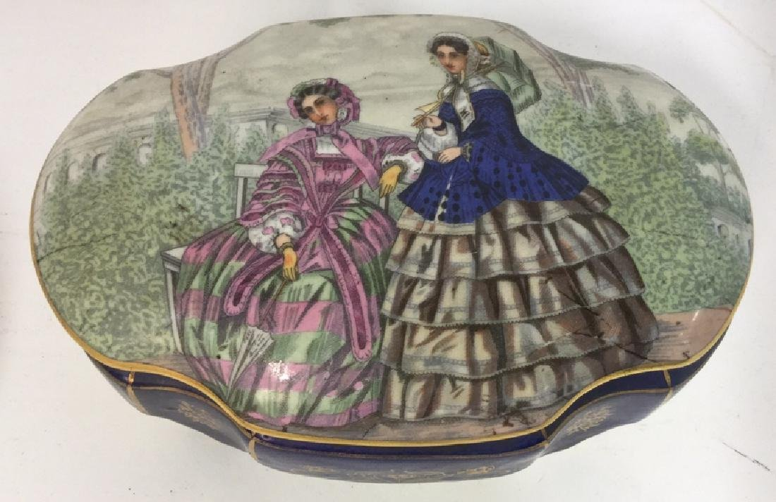 Vintage Porcelain Ceramic Painted Trinket Box - 2