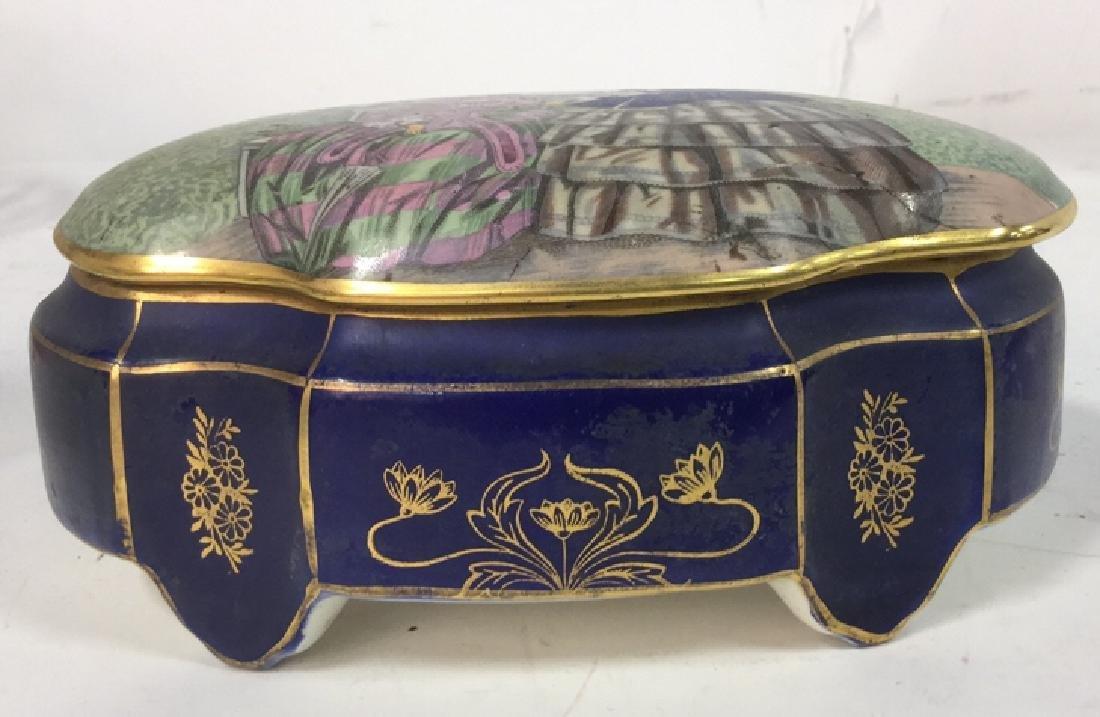 Vintage Porcelain Ceramic Painted Trinket Box - 3