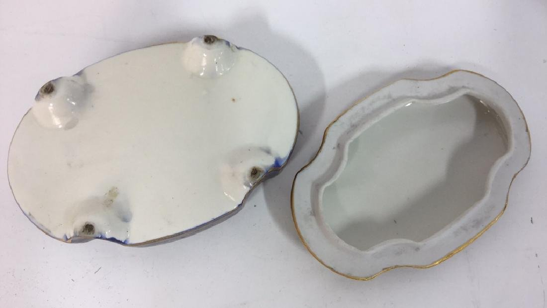Vintage Porcelain Ceramic Painted Trinket Box - 7