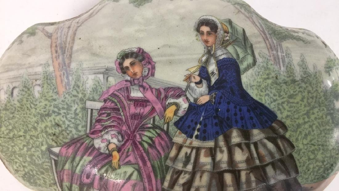 Vintage Porcelain Ceramic Painted Trinket Box - 8
