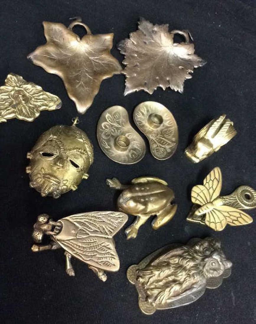 Lot 11 Brass Toned Metal Tabletop Accessories