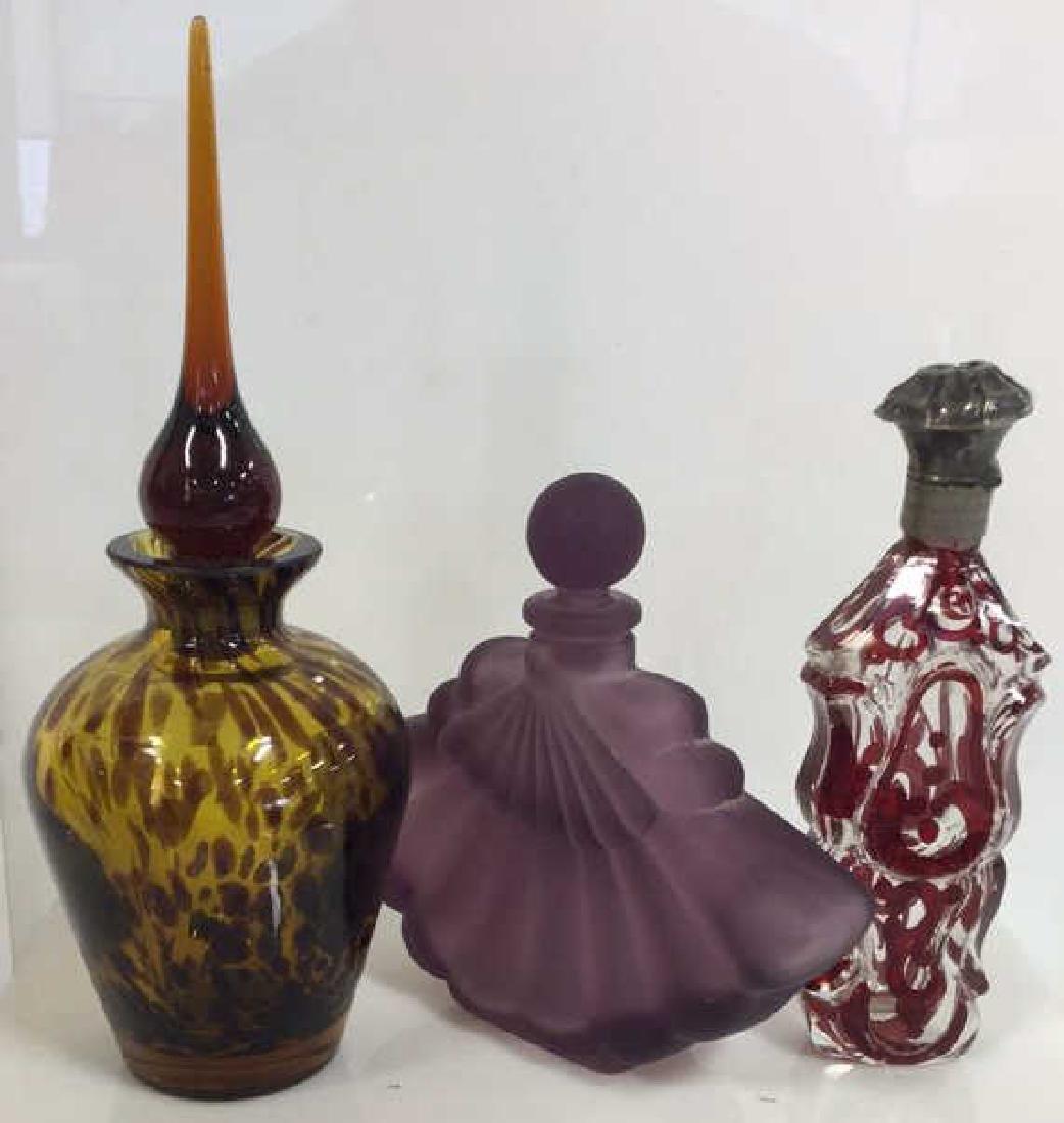 Lot 3 Assorted Art Glass Perfume Bottles