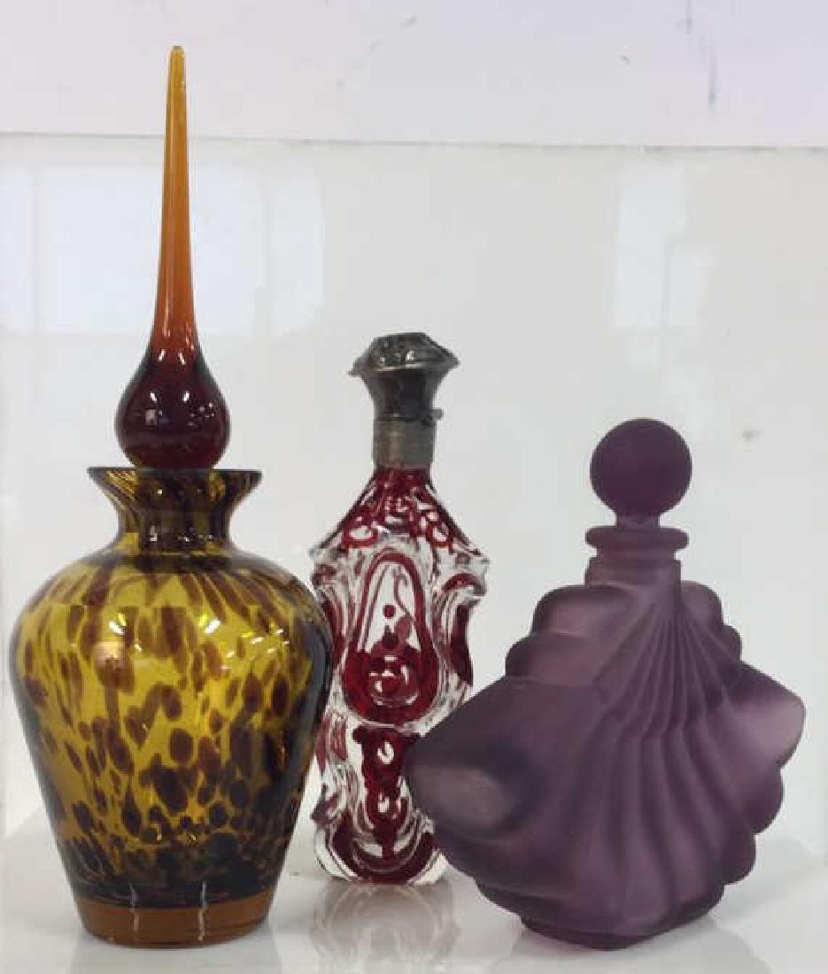 Lot 3 Assorted Art Glass Perfume Bottles - 5