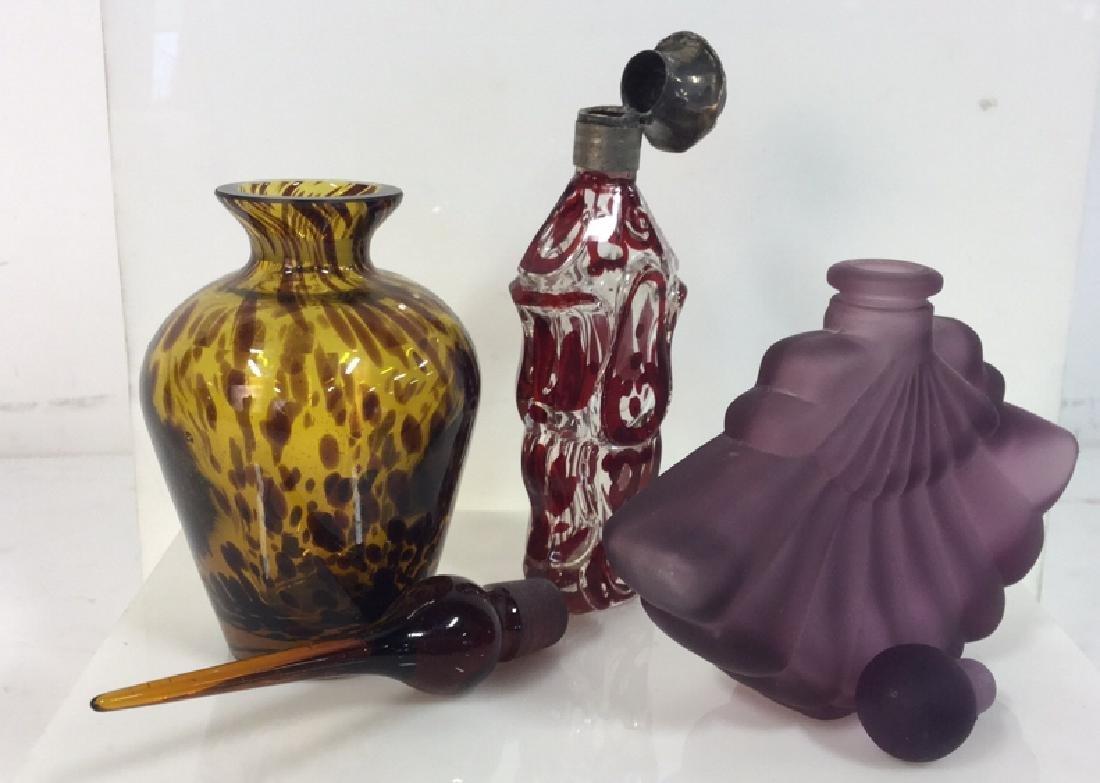 Lot 3 Assorted Art Glass Perfume Bottles - 6