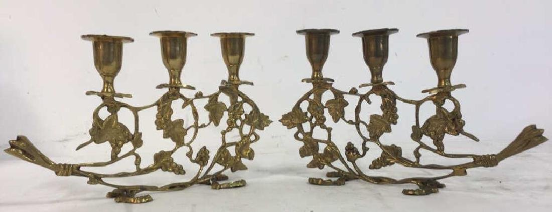 Pair Gold Toned Brass Candelabras
