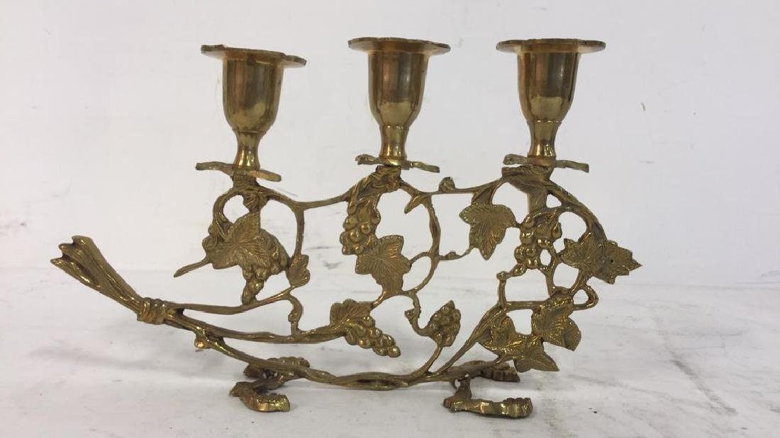 Pair Gold Toned Brass Candelabras - 2