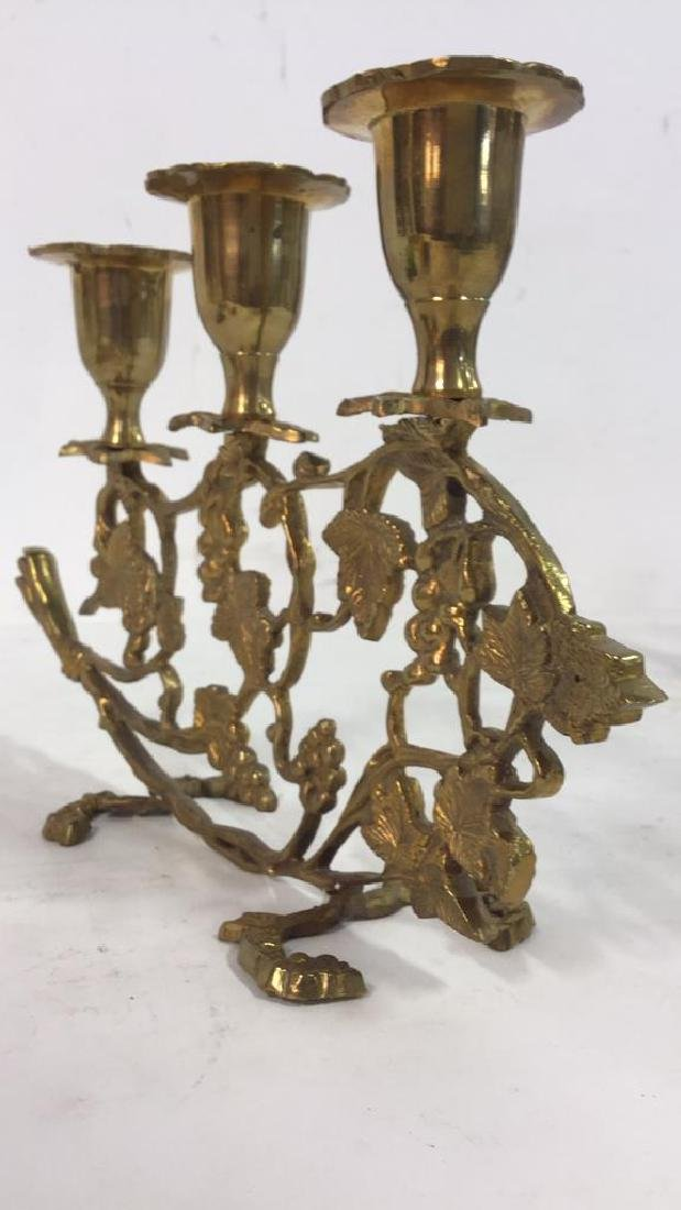 Pair Gold Toned Brass Candelabras - 5