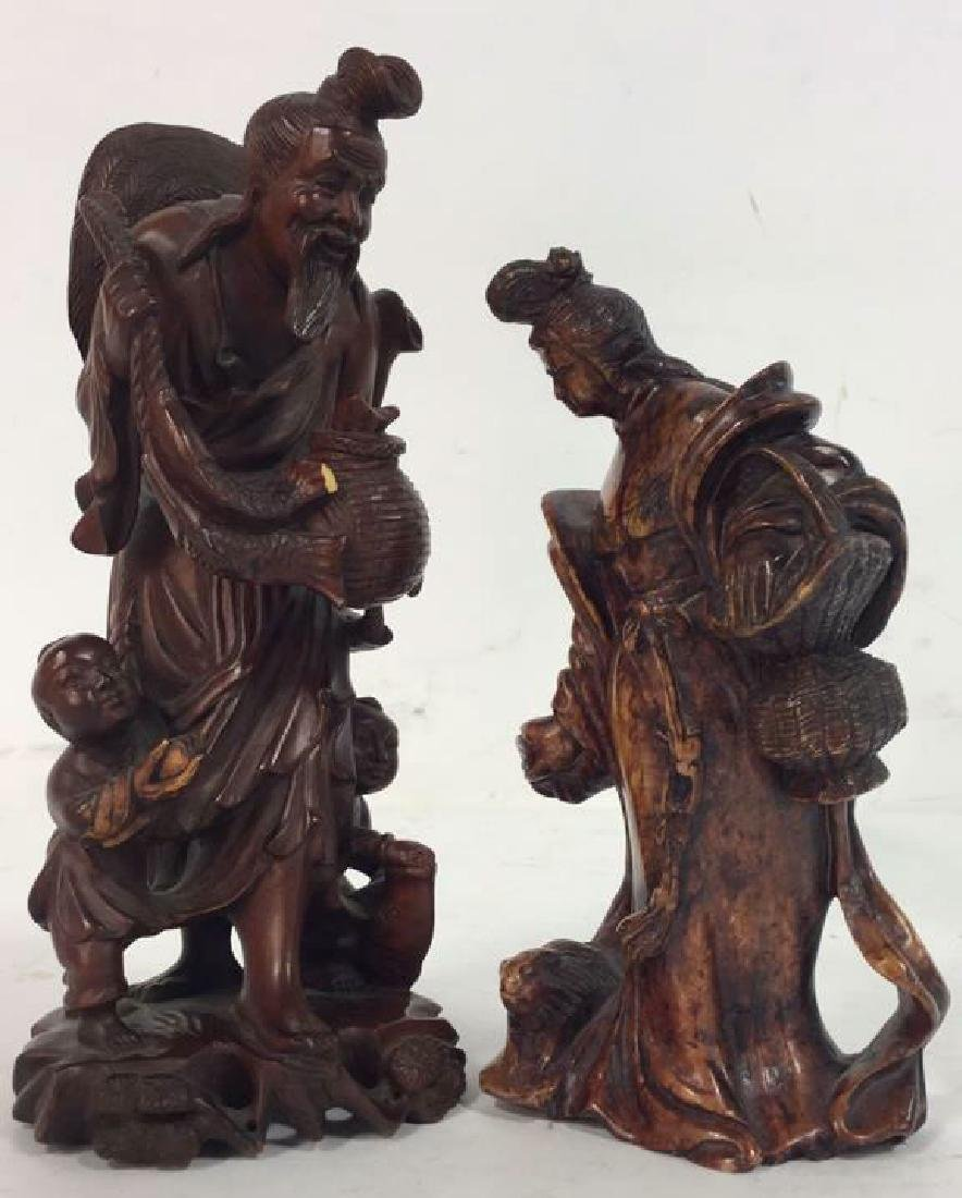 Lot 2 Carved  Wood Oriental Figurals