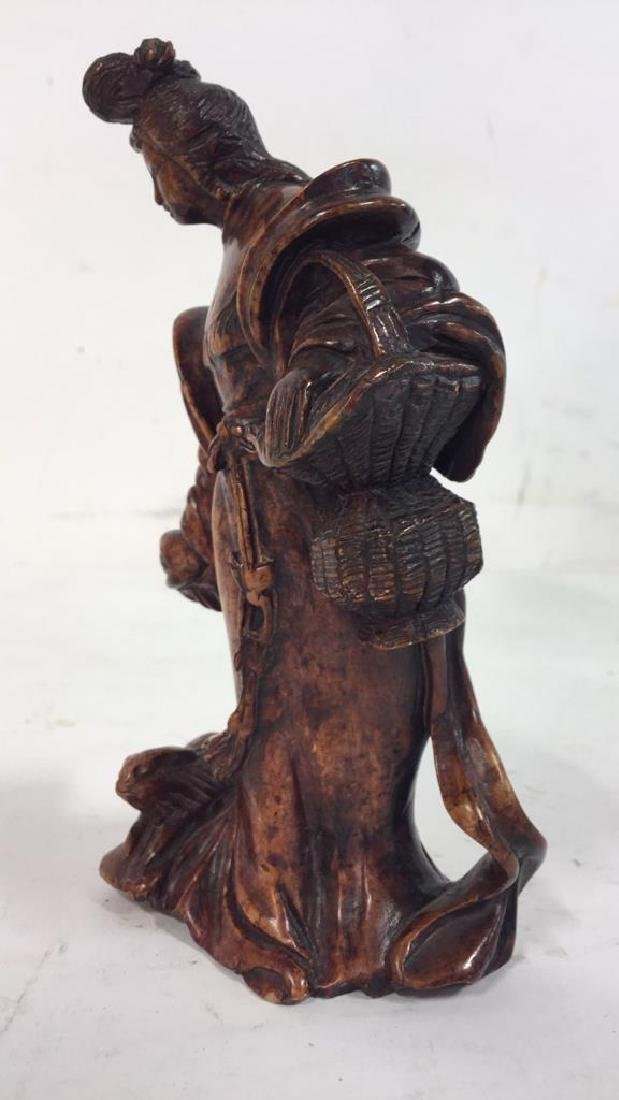 Lot 2 Carved  Wood Oriental Figurals - 5