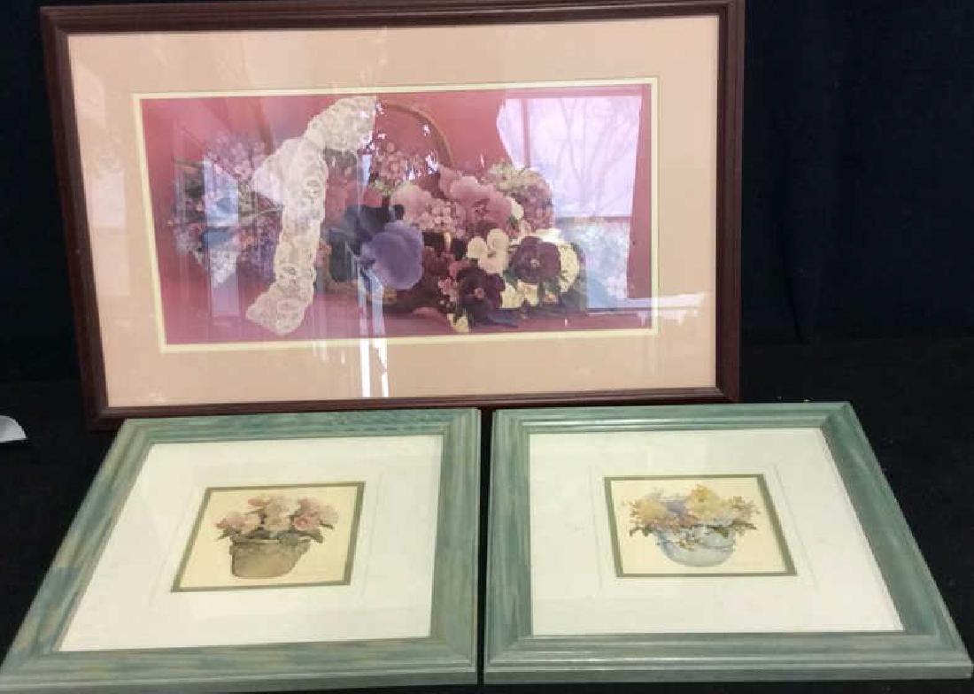 Lot 3 Framed Floral Art Prints