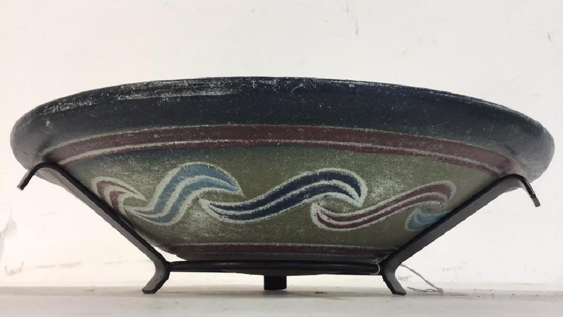 Multi Toned Ceramic Bowl W Stand - 3
