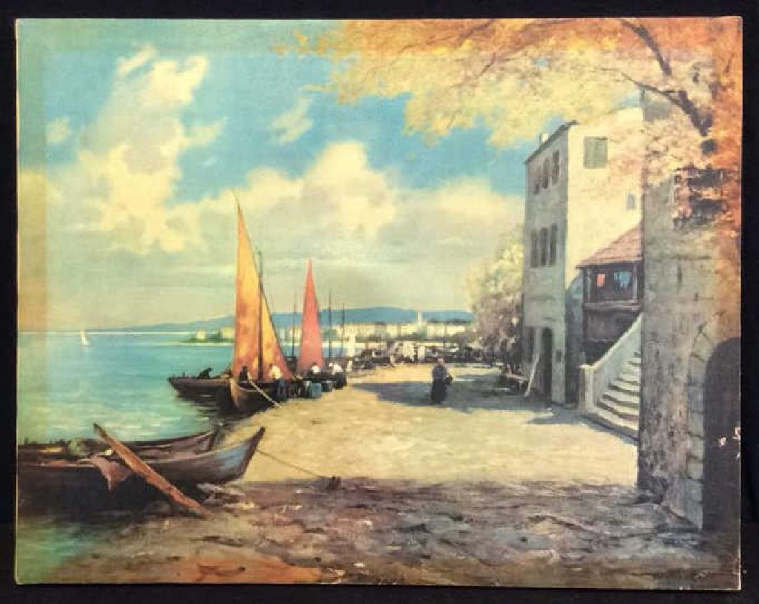 Seaside Village Art Print on Stretched Canvas