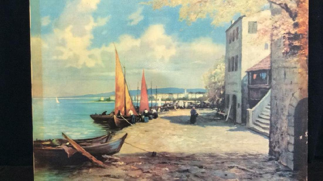 Seaside Village Art Print on Stretched Canvas - 2