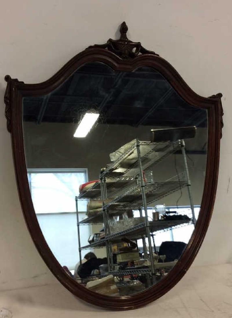 Shield Form Wooden Frame Mirror