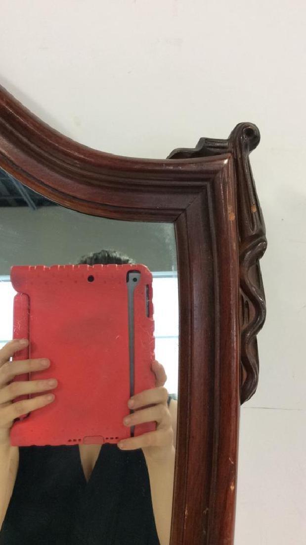 Shield Form Wooden Frame Mirror - 3