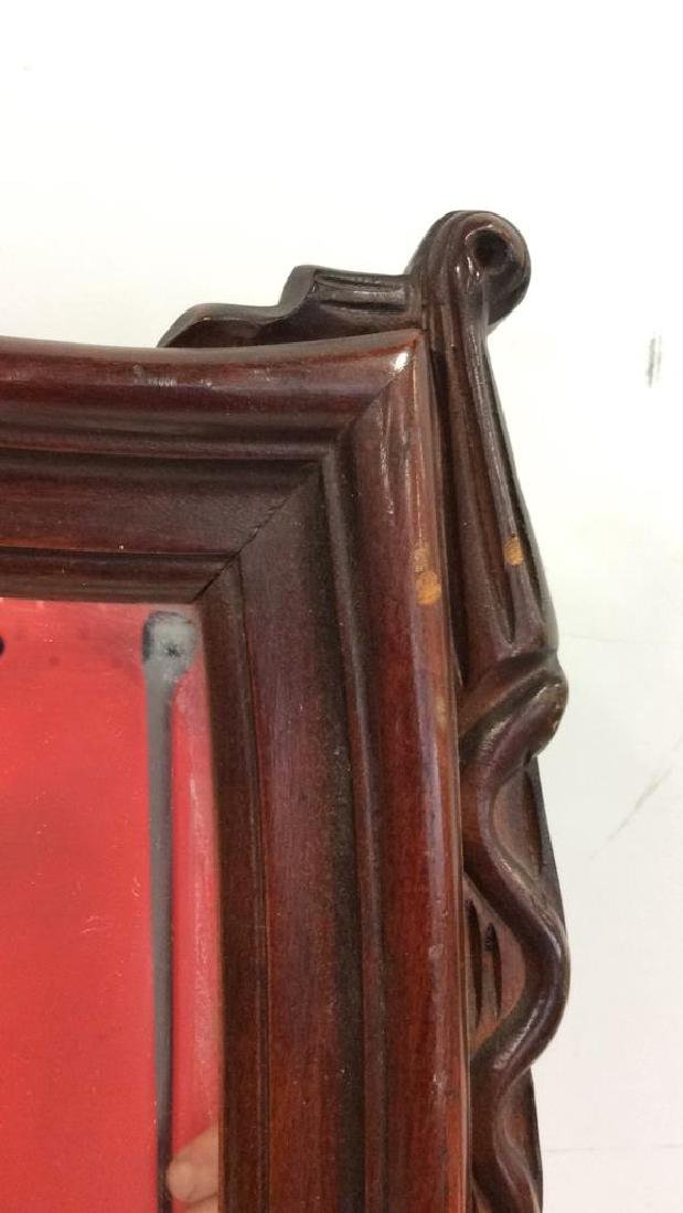 Shield Form Wooden Frame Mirror - 7