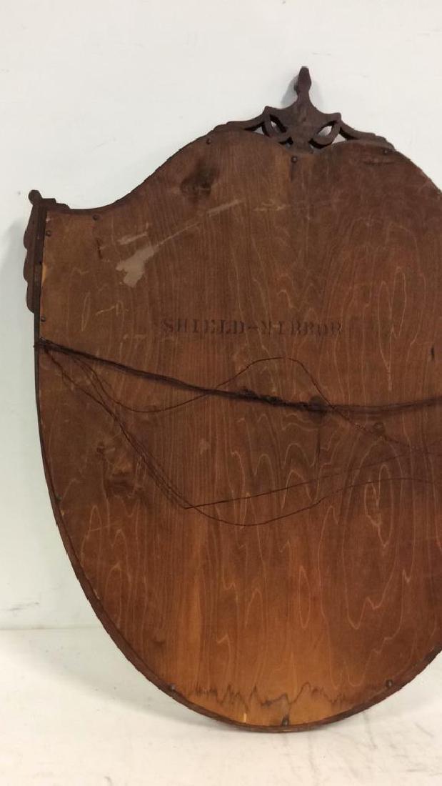 Shield Form Wooden Frame Mirror - 8