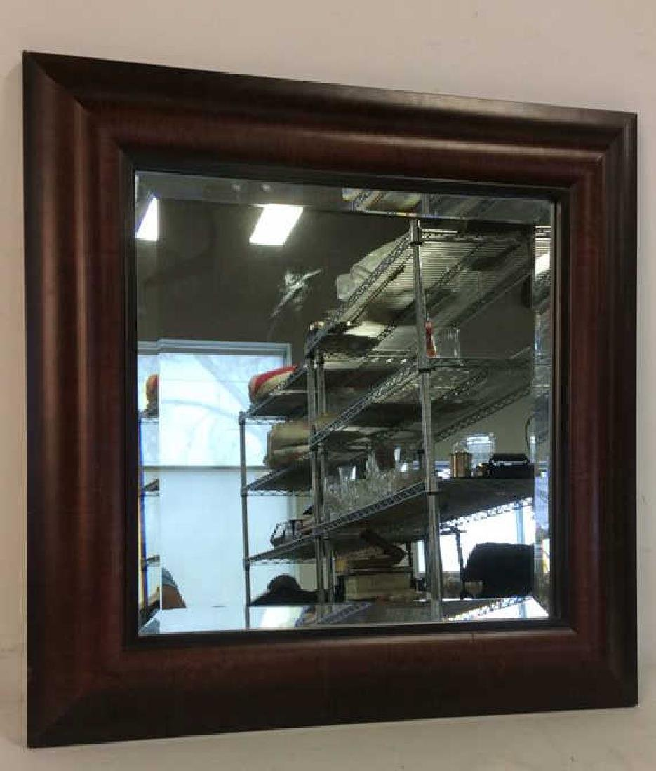 Carved Ogeed Wood Frame Beveled Mirror - 2