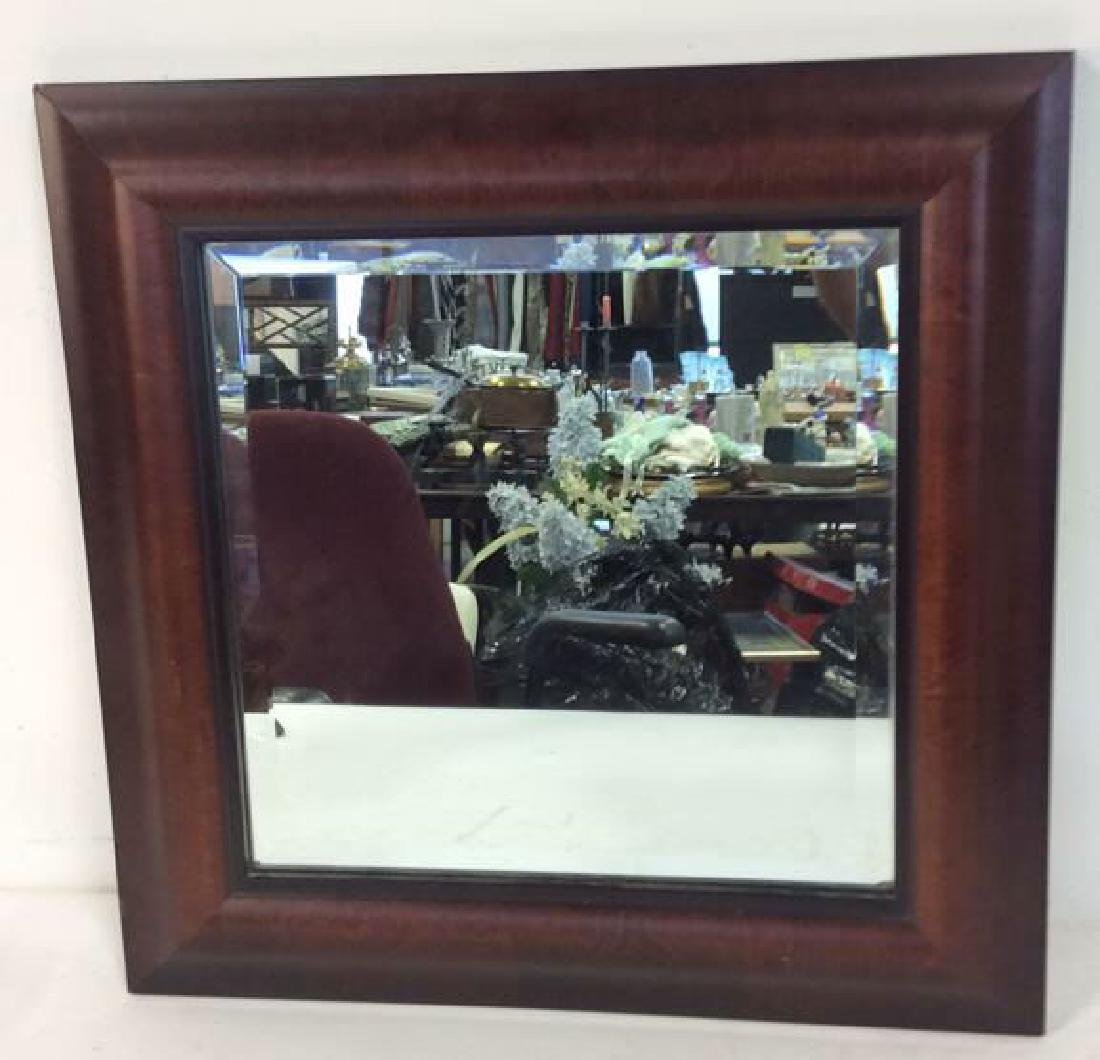 Carved Ogeed Wood Frame Beveled Mirror - 4