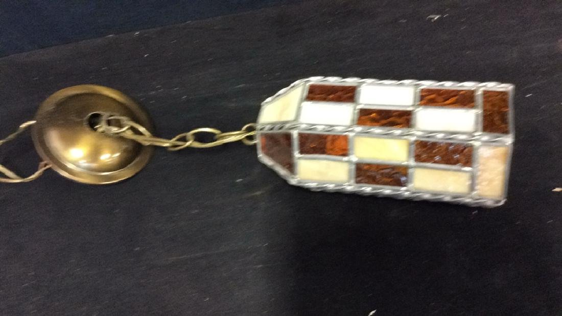 Stained Glass Hanging Light Lantern - 6