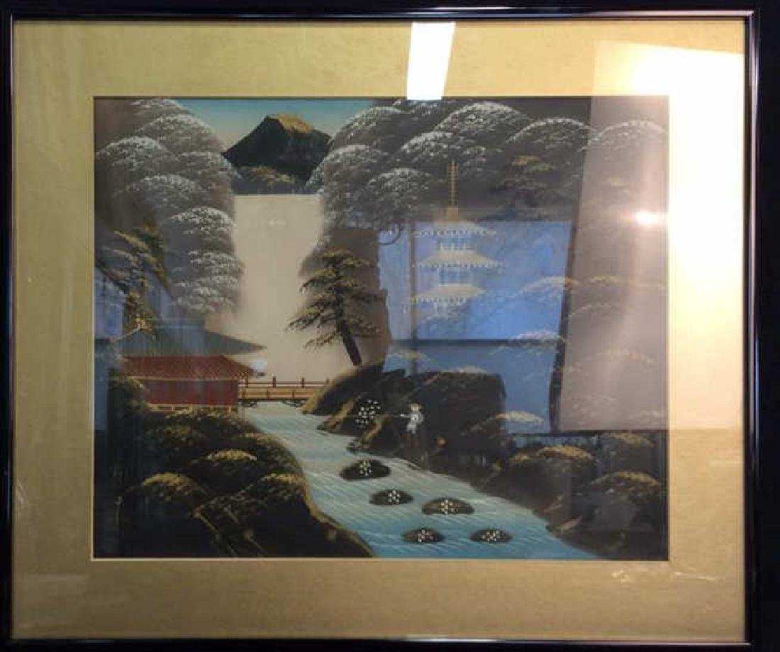 Oriental Artwork Framed Painting on Fabric