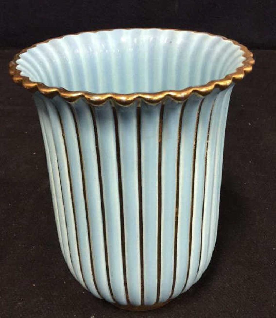 ALELUIA Vintage Aqua Gold Porcelain Vase