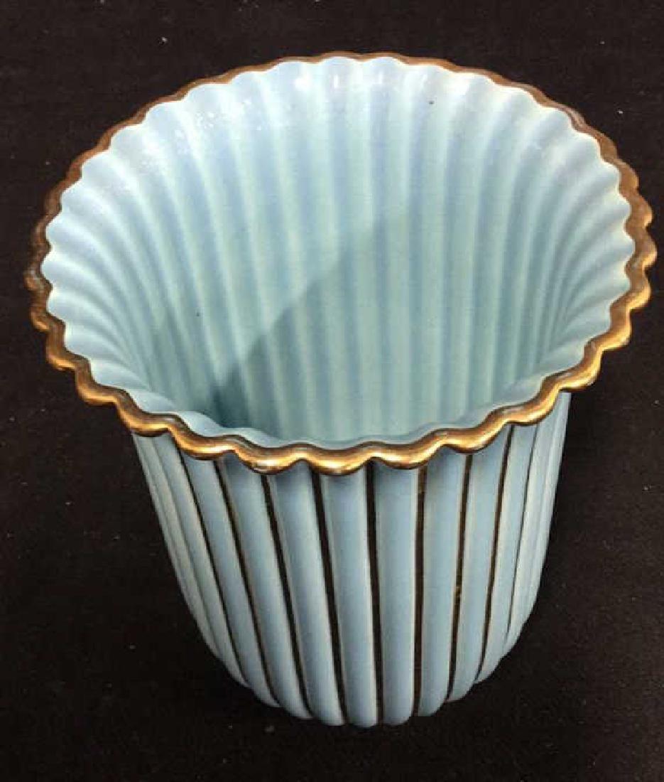 ALELUIA Vintage Aqua Gold Porcelain Vase - 2