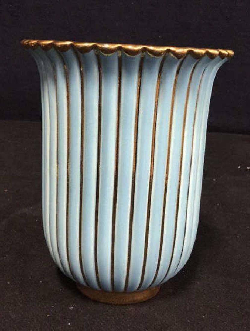 ALELUIA Vintage Aqua Gold Porcelain Vase - 3