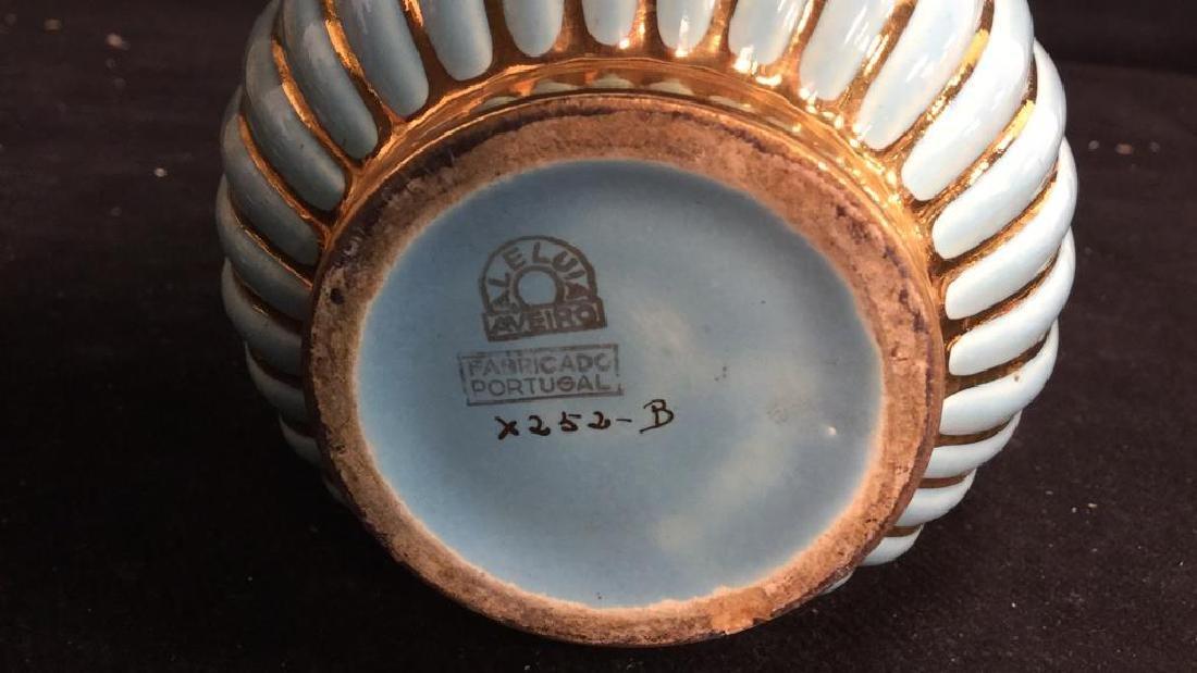 ALELUIA Vintage Aqua Gold Porcelain Vase - 5