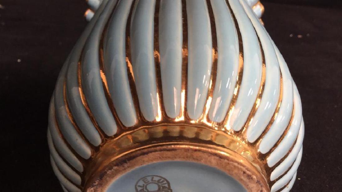 ALELUIA Vintage Aqua Gold Porcelain Vase - 6