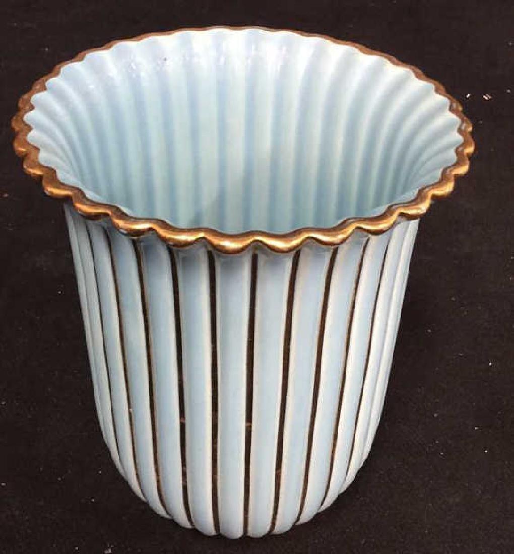 ALELUIA Vintage Aqua Gold Porcelain Vase - 7