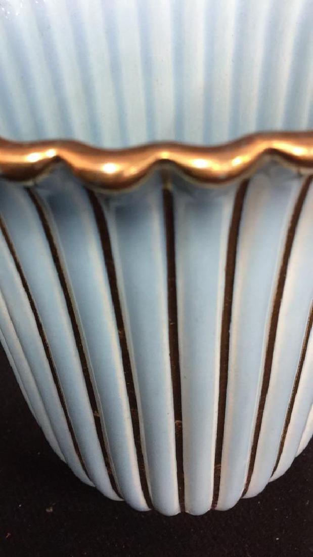 ALELUIA Vintage Aqua Gold Porcelain Vase - 8