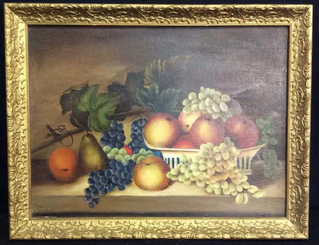 Framed Painted Fruit Still Life