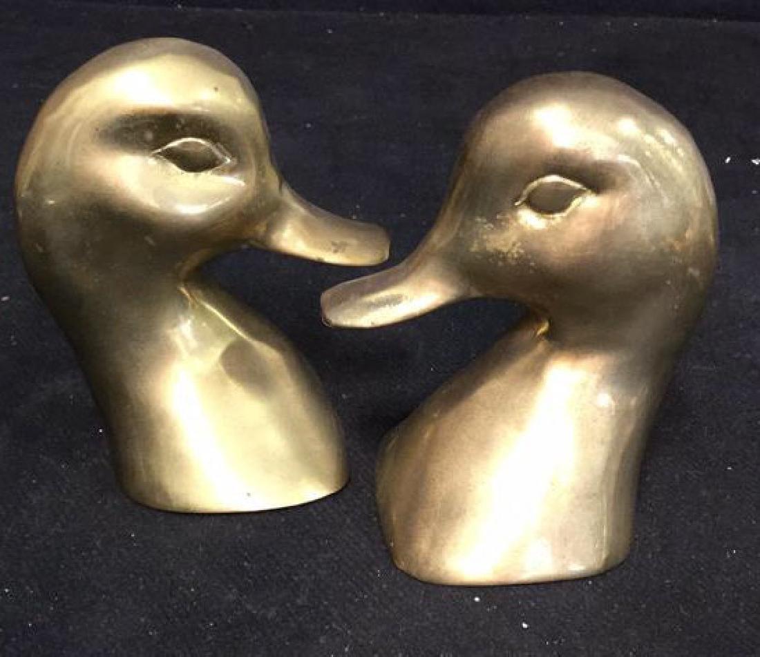 Pair Brass Duck Head Book Ends