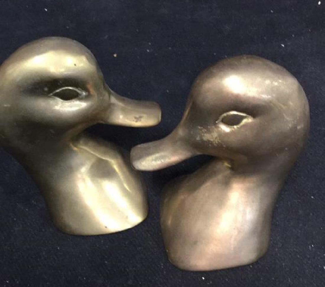 Pair Brass Duck Head Book Ends - 2