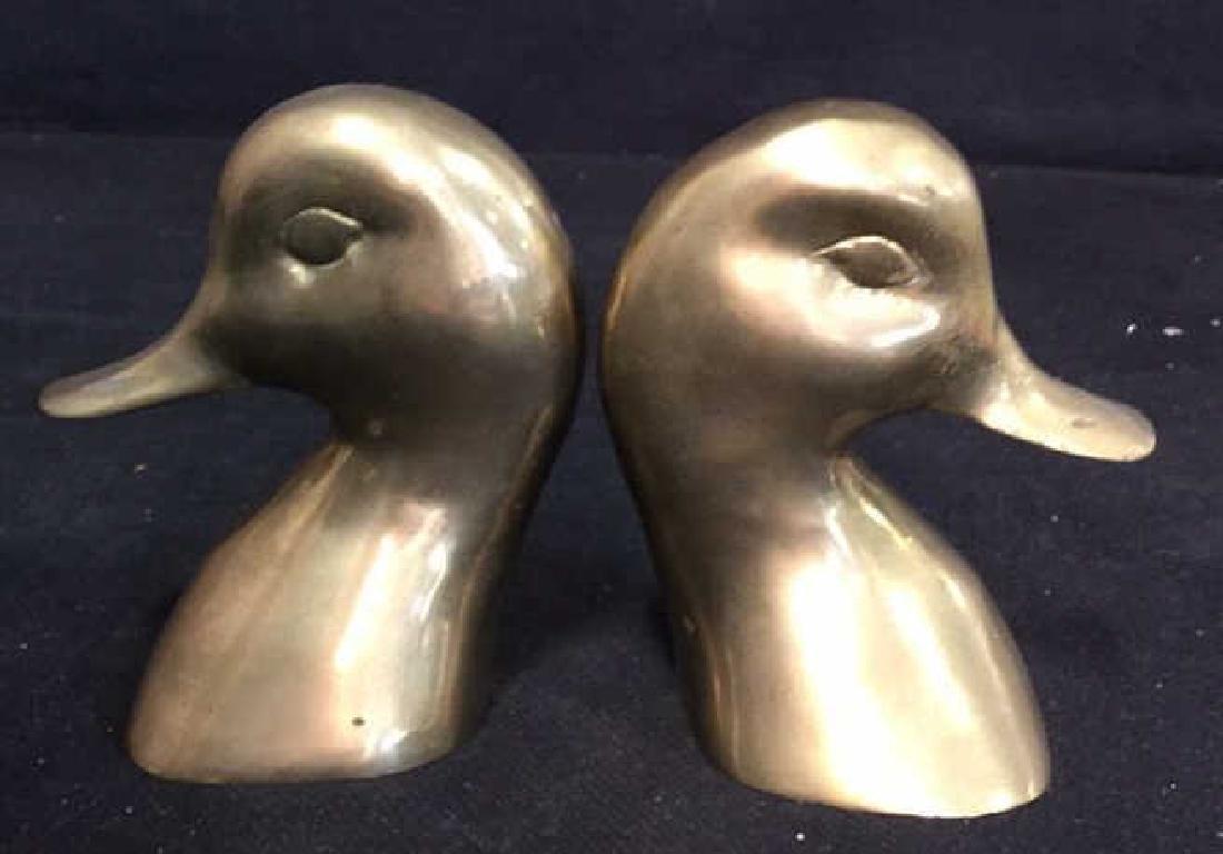 Pair Brass Duck Head Book Ends - 3