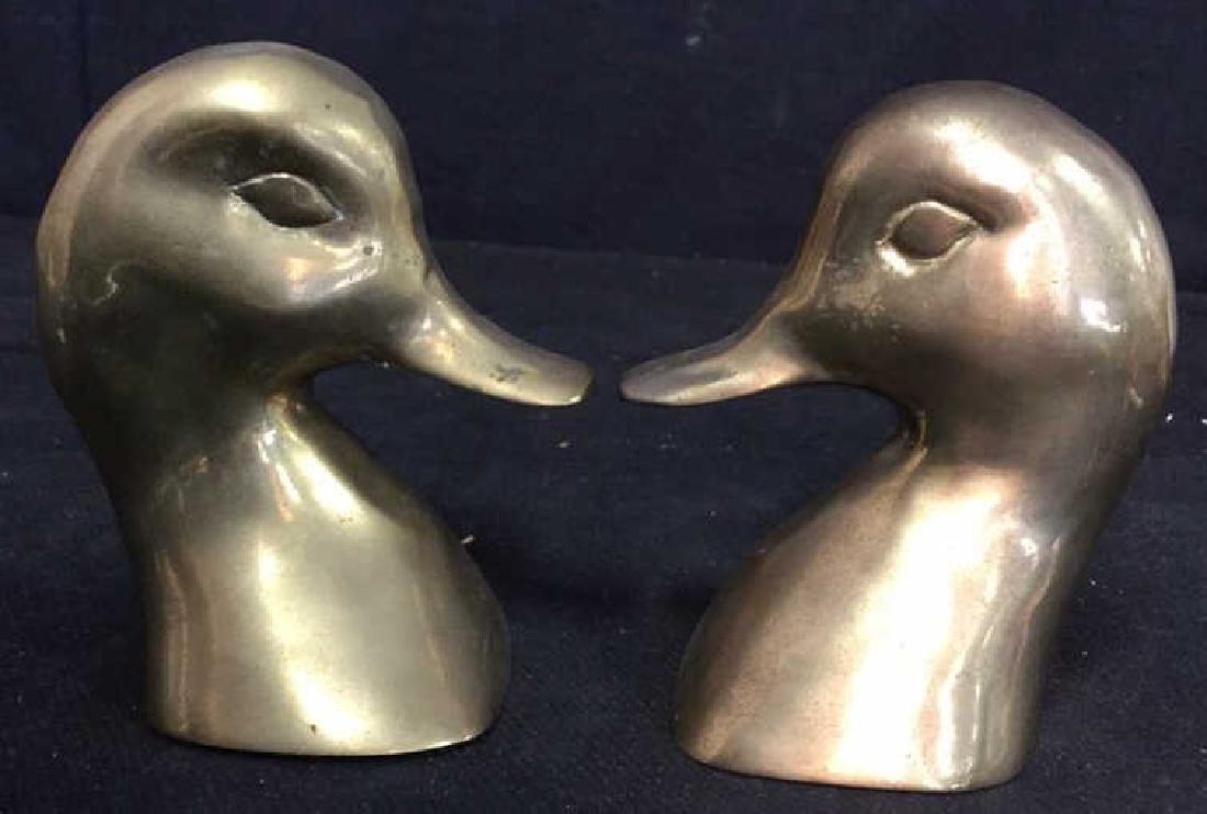 Pair Brass Duck Head Book Ends - 4