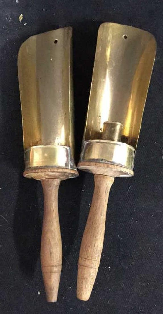 Pair Vintage Wood and Brass Candle Holders