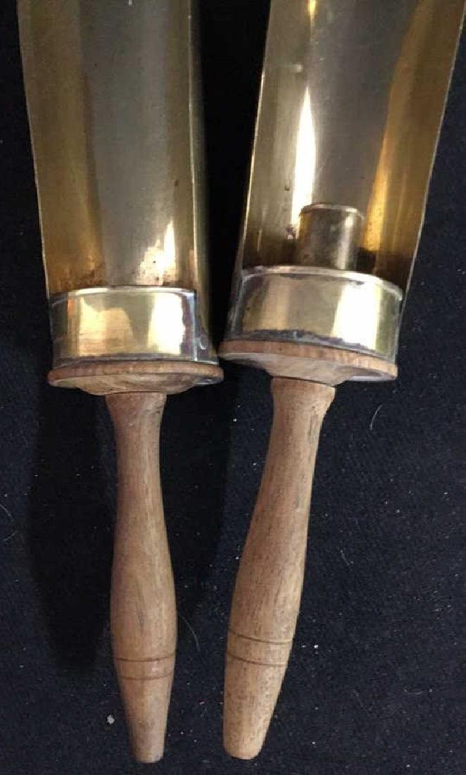 Pair Vintage Wood and Brass Candle Holders - 2